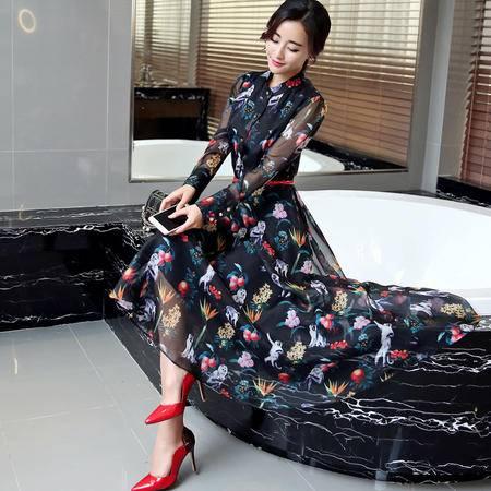 MSSEFN春季女装新款气质飘逸长款印花雪纺连衣裙 配腰带