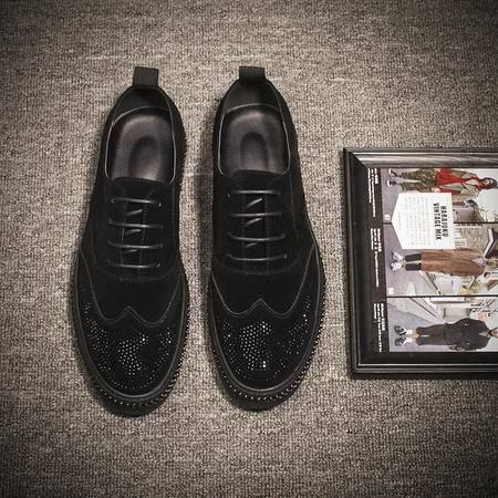 MSSEFN钱塘新款男士休闲皮鞋水钻乐福鞋男潮流板鞋