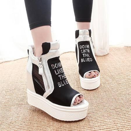 MSSEFN高帮厚底松糕鞋内增高韩版潮鞋女鞋休闲单鞋潮