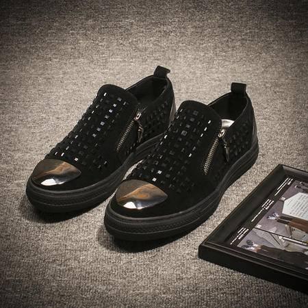 MSSEFN新钢头乐福鞋英伦男板鞋铆钉双拉链潮鞋