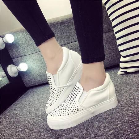 MSSEFN水钻 内增高2CM 底厚2CM 帆布鞋 低帮 女鞋
