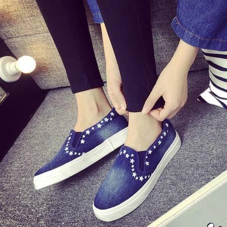 MSSEFN 水洗牛仔 帆布鞋 低帮平底 女单鞋