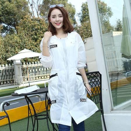 MSSEFN 春季新款女装中长款韩版显瘦防晒外套连帽防晒衣
