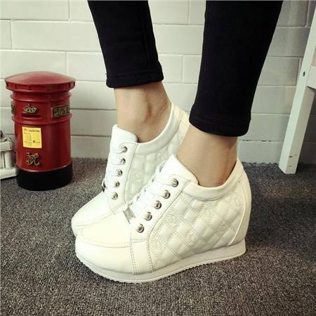 MSSEFN春秋韩版隐形内增高女鞋高帮鞋休闲鞋坡跟女系带单鞋潮