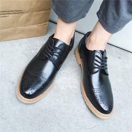 MSSEFN黑色主图布洛克欧美走秀款男士街拍增高男士皮鞋休闲鞋