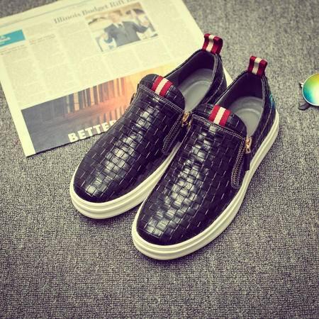 MSSEFN春夏新款韩版英伦真皮鞋休闲鞋乐福鞋拉链板鞋