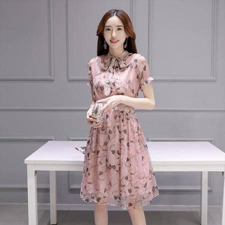 MSSEFN夏季新品女装系带领修身通勤印花雪纺连衣