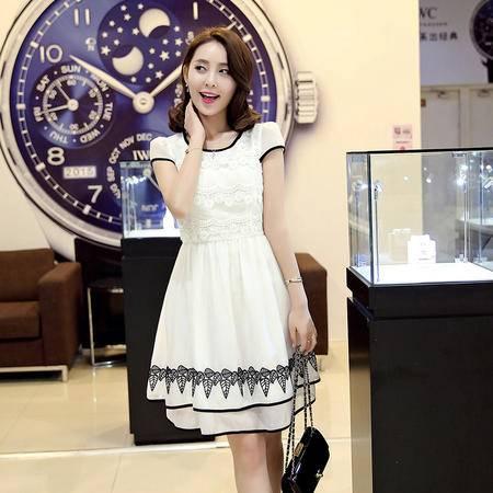 MSSEFN韩版圆领短袖蕾丝纯色中长连衣裙2016年夏季