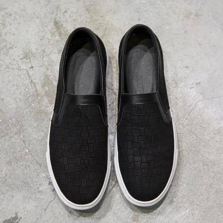 MSSEFN 原创格子印 套脚男鞋 真皮鞋子