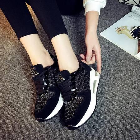 MSSEFN真皮 气垫 内增高 网纱 透气 女旅行慢跑鞋