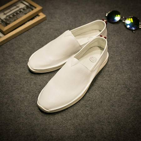 MSSEFN夏季男士休闲懒人鞋韩版潮流透气小白鞋平底套脚乐福鞋