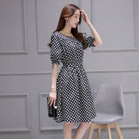 MSSEFN夏季韩版新品时尚一字领泡泡袖波点修身气质连衣裙