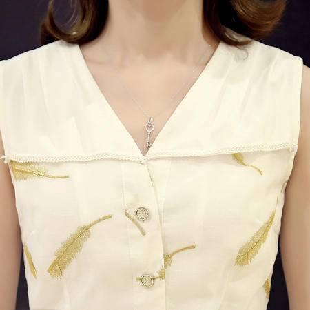 MSSEFN羽毛印花圆领无袖2016年夏季蝴蝶结中长款连衣裙