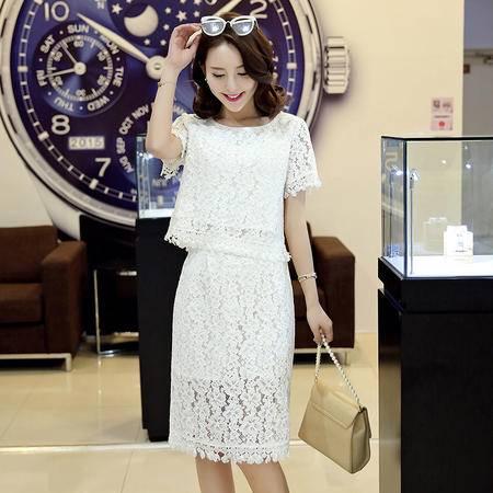 MSSEFN韩版圆领短袖蕾丝镂空包臀一字裙两件套2016年夏季