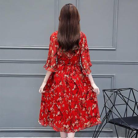 MSSEFN圆领印花七分袖中长款松紧腰修身气质时尚2016年夏季连衣裙