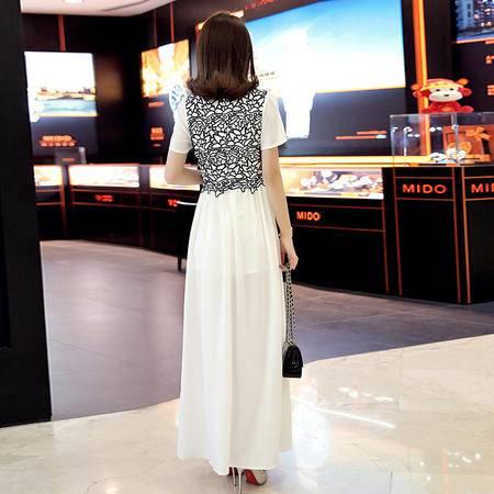 MSSEFN圆领短袖开叉下摆中长款连衣裙2016年夏季