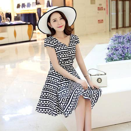 MSSEFN韩版复古图案圆领短袖修身A型连衣裙2016年夏季