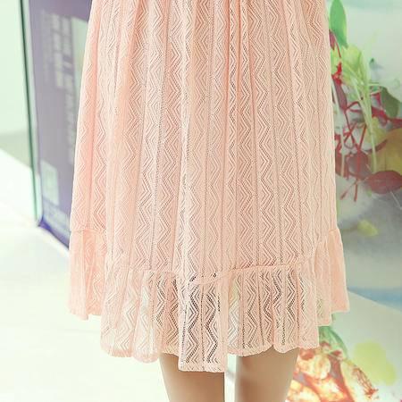 MSSEFN韩版圆领纯色短袖修身蕾丝连衣裙2016年夏季