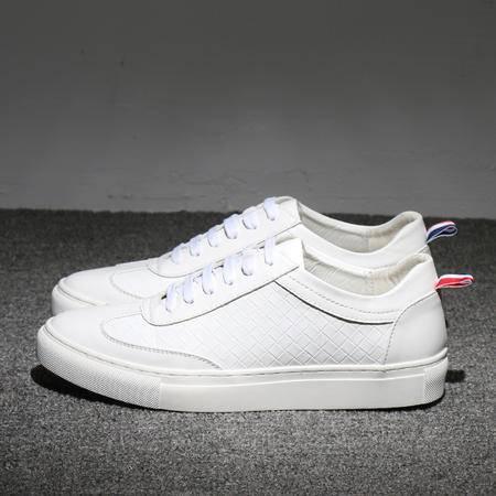 MSSEFN 男士低帮休闲系带板鞋时尚潮流小白鞋