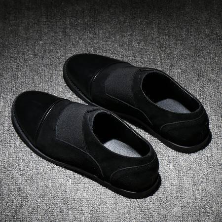 MSSEFN电商日系爆款男士低帮套脚拼色反绒皮乐福鞋