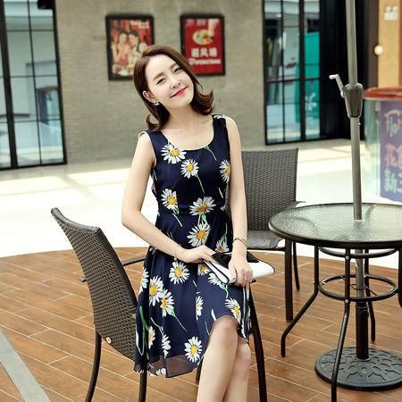 MSSEFN圆领套头无袖A型植物印花连衣裙韩版2016年夏季