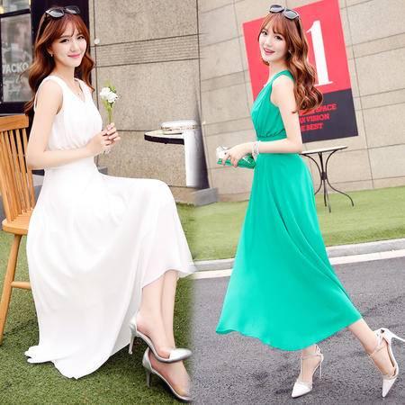 mssefn2016夏季女装新款时尚V领无袖气质甜美飘逸雪纺连衣裙