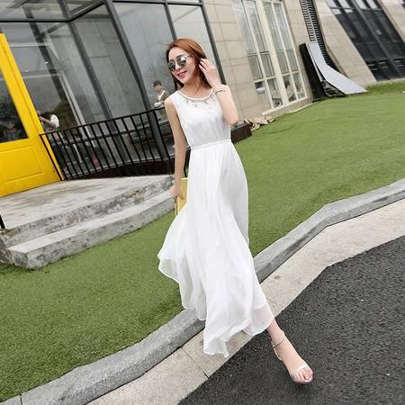 mssefn2016夏女装新款时尚圆领无锡气质优雅雪纺连衣裙 配项链