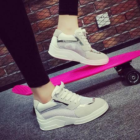 mssefn2016真皮牛皮反绒 网面 内增高2CM厚底低帮旅行女鞋