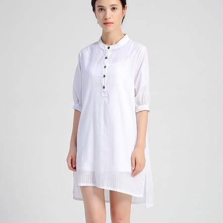 mssefn2016夏新款衬衫女中长款修身显瘦条纹衬衣防晒衫女