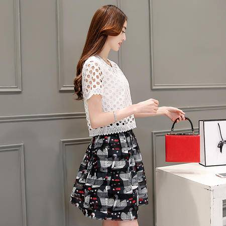 MSSENF时尚白鹅印花两件套2016年夏季中裙圆领短袖镂空休闲