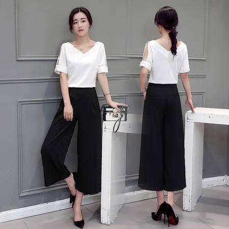 mssefn2016夏季女装新款V领上衣 阔腿裤两件套时尚棉麻套装