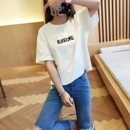 mssefn新款2016宽松短袖夏季T恤圆领休闲韩版简约