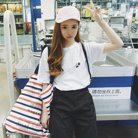 mssefn2016夏季新款女装韩版bf原宿风宽松休闲圆领t恤女短袖