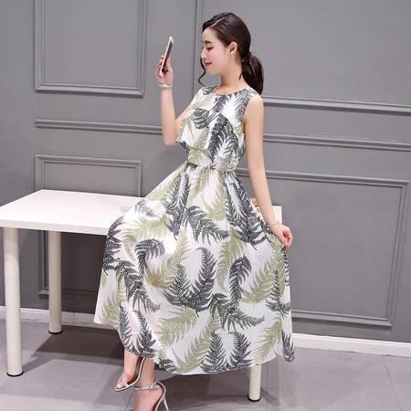 mssefn2016夏季女装新款时尚圆领无袖气质甜美印花长款连衣裙