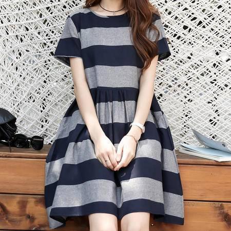 mssefn2016 夏季新品 韩版时尚 棉麻条纹裙