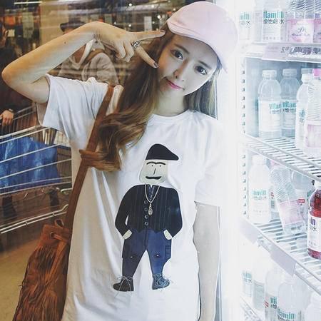 mssefn2016夏季新款女装韩版bf原宿黑手党宽松休闲短袖t恤女