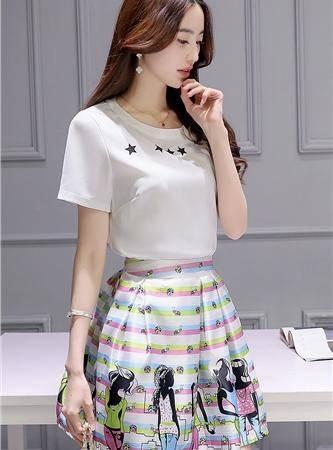 mssefn圆领短袖中腰印花2016夏季韩版休闲时尚宽松显瘦百搭两件套