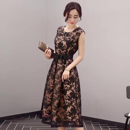 mssefn2016夏季女装新款时尚圆领无袖气质优雅修身印花连衣裙