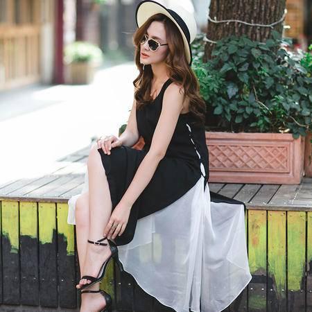 mssefn欧洲站大牌范无袖修身拼接雪纺连衣裙气质中长裙