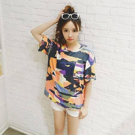 mssefn2016夏季新款女装韩版BF原宿宽松休闲迷彩t恤女短袖上衣