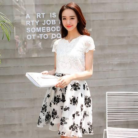 mssefn夏季韩版新品绣花蕾丝衫 雪纺半身裙时尚两件套连衣裙