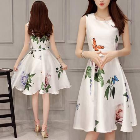 mssefn大摆型2016年夏季短袖中裙A型花色印花背带连衣裙