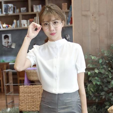 mssenf夏季韩版新品泡泡袖立领雪纺衫正反面可穿