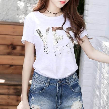 mssefn2016 夏季时尚新品 亮片T恤