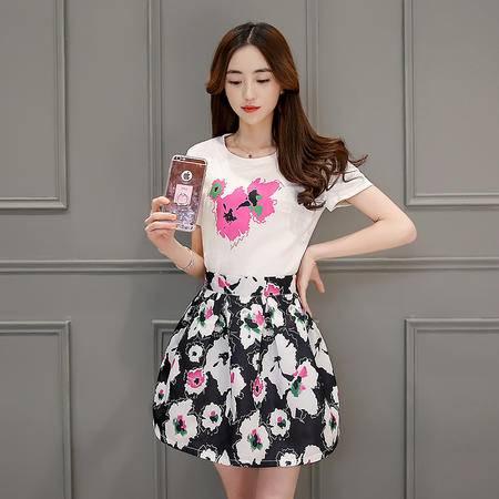 mssefn中腰圆领大花两件套A字裙2016年夏季短袖中长款韩版百搭