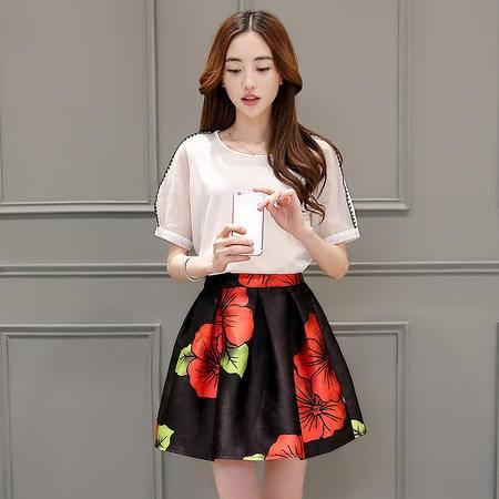 mssefn两件套中腰圆领花色中长款短袖2016年夏季潮流韩版