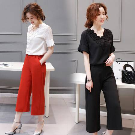 mssefn2016夏女装新款V领短袖上衣 阔腿裤两件套时尚休闲套装