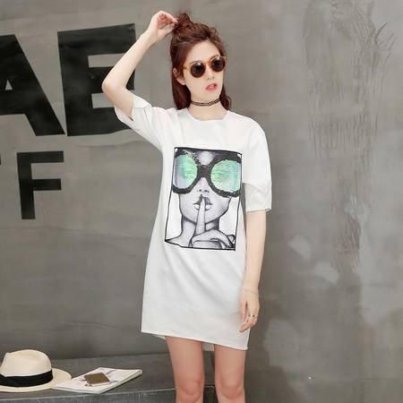 mssefn新款2016甜美圆领短袖印花T恤修身中长款连衣裙夏季