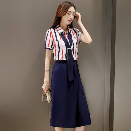 mssefn2016夏季女装新款条纹衬衫 阔腿裤两件套时尚气质套装