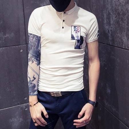 mssefn精神红人3D短袖翻领POLO衫 韩版男士T恤衫